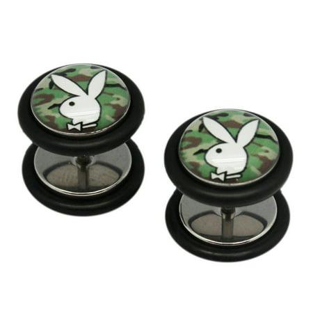 (Camouflage Playboy Bunny Screw On Cheater Plugs (1 mm, 18 Gauge) - 2 Piece)