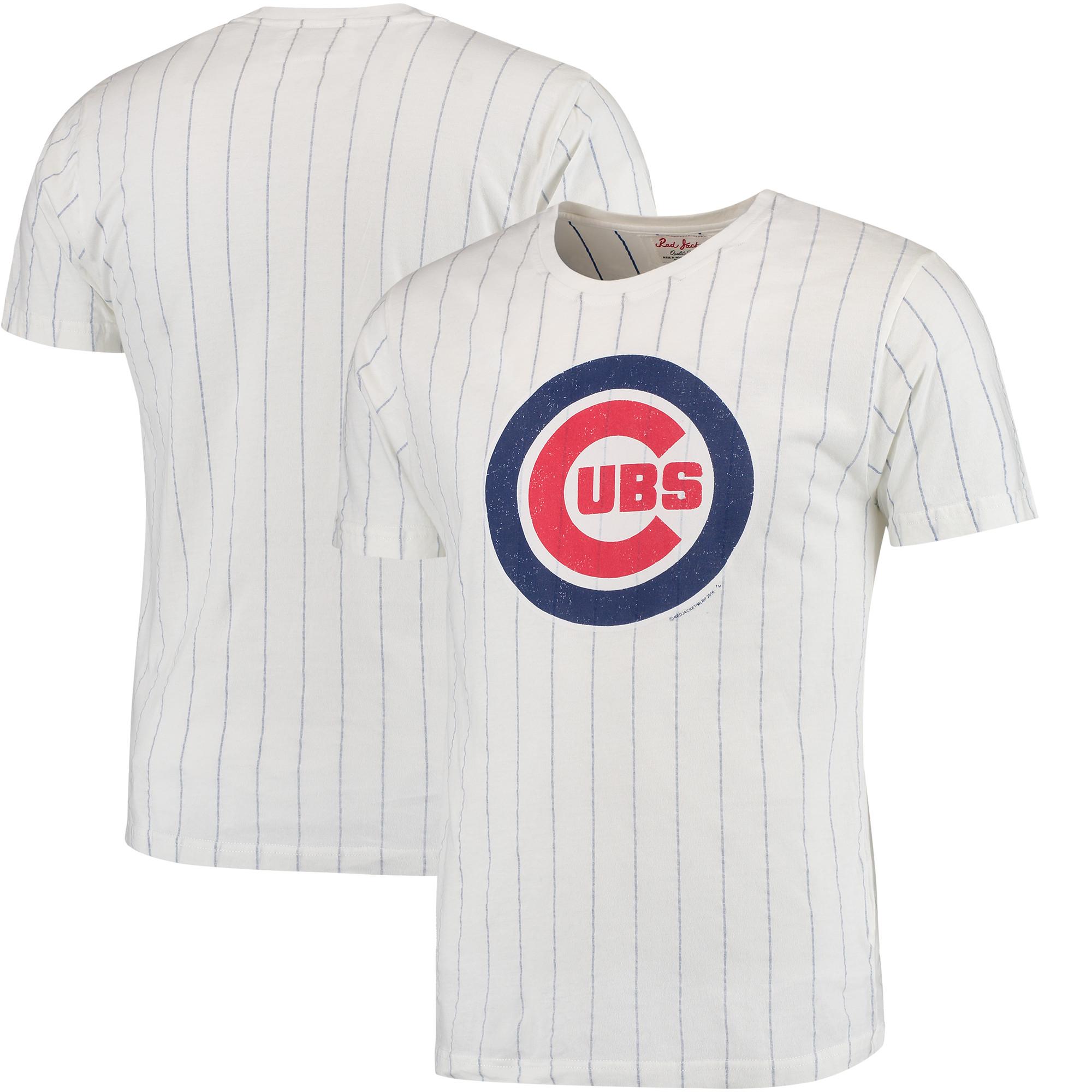 Chicago Cubs Red Jacket Brass Tacks Pinstripe T-Shirt - White