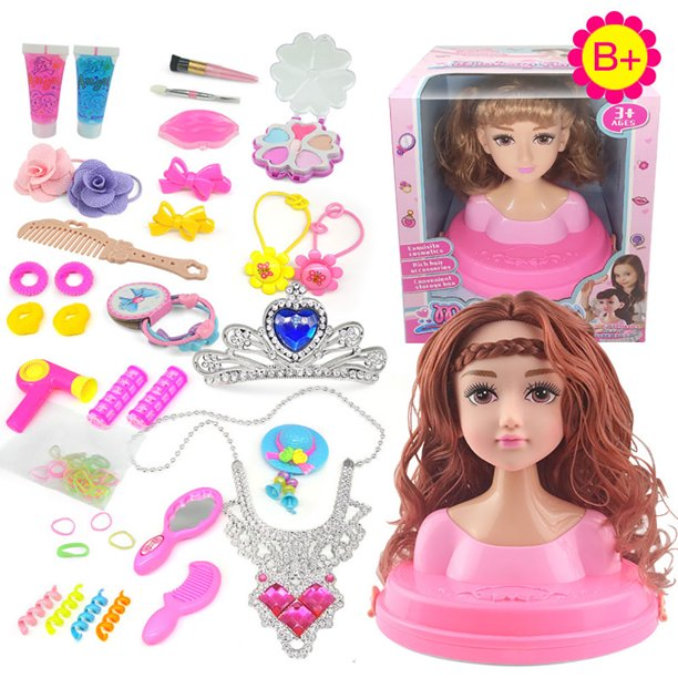 Kids Dolls Styling Head Makeup Comb Hair Toy Doll Set Pretend Play Princess Dressing Play Toys For Little Girls Makeup Learning Ideal Present Walmart Com Walmart Com