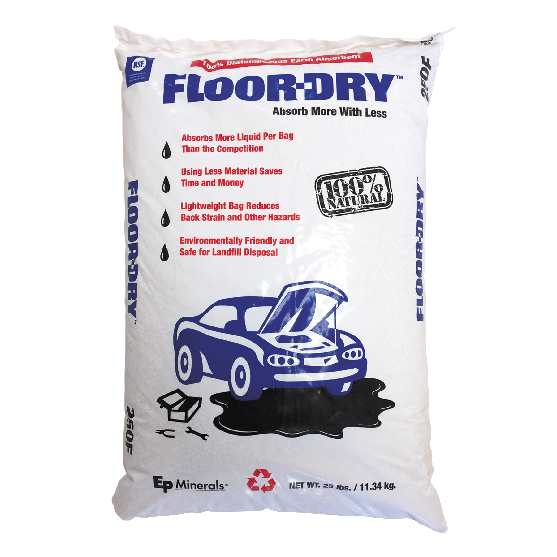 Floor-Dry DE Premium Oil Absorbent, Diatomaceous Earth, 25lb Poly Bag -MOL9825