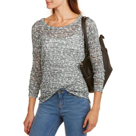 Image of Allison Brittney Women's Allover Printed Long Sleeve Hi-Low Drop Shoulder Top