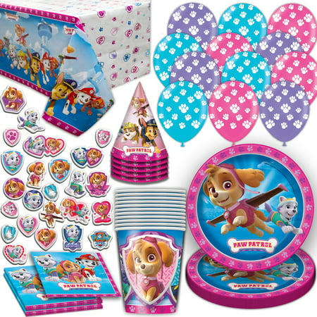 Paw Patrol Girls Party Supplies for 16. Includes Plates, Cups, Napkins, Tablecloth, Stickers, Balloons, Birthday Hat. Pink and Purple Theme Dinnerware Decoration and Favors
