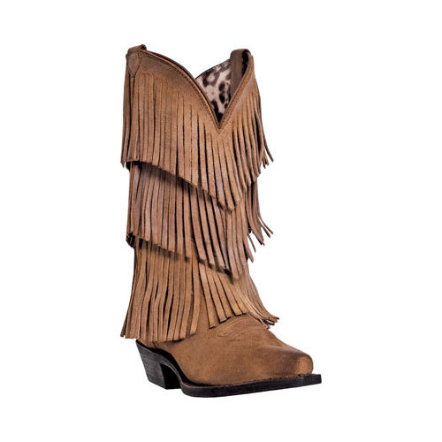 Dingo Western Boots Womens Tres Fringe Suede Burnished Tan DI7442 by Dingo