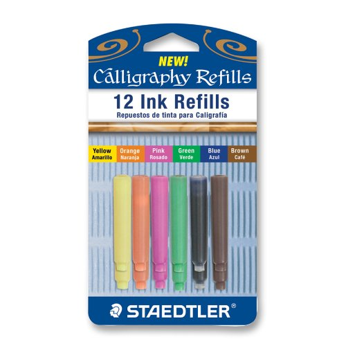 Calligraphy Pen Ink Refills, 12pk, Assorted