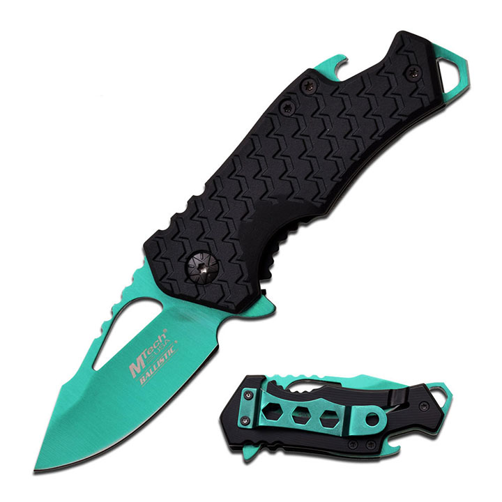 "Mtech SPRING ASSISTED KNIFE 3"" CLOSED 2.75""  GREEN BLADE"