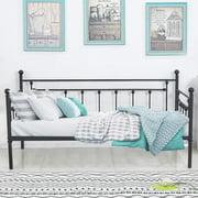 Daybed Platform Metal Bed Frame Slats Support,Black,Victorian
