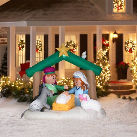 buy popular ea8be 949e8 6' Tall Airblown Christmas Nativity Scene Inflatable