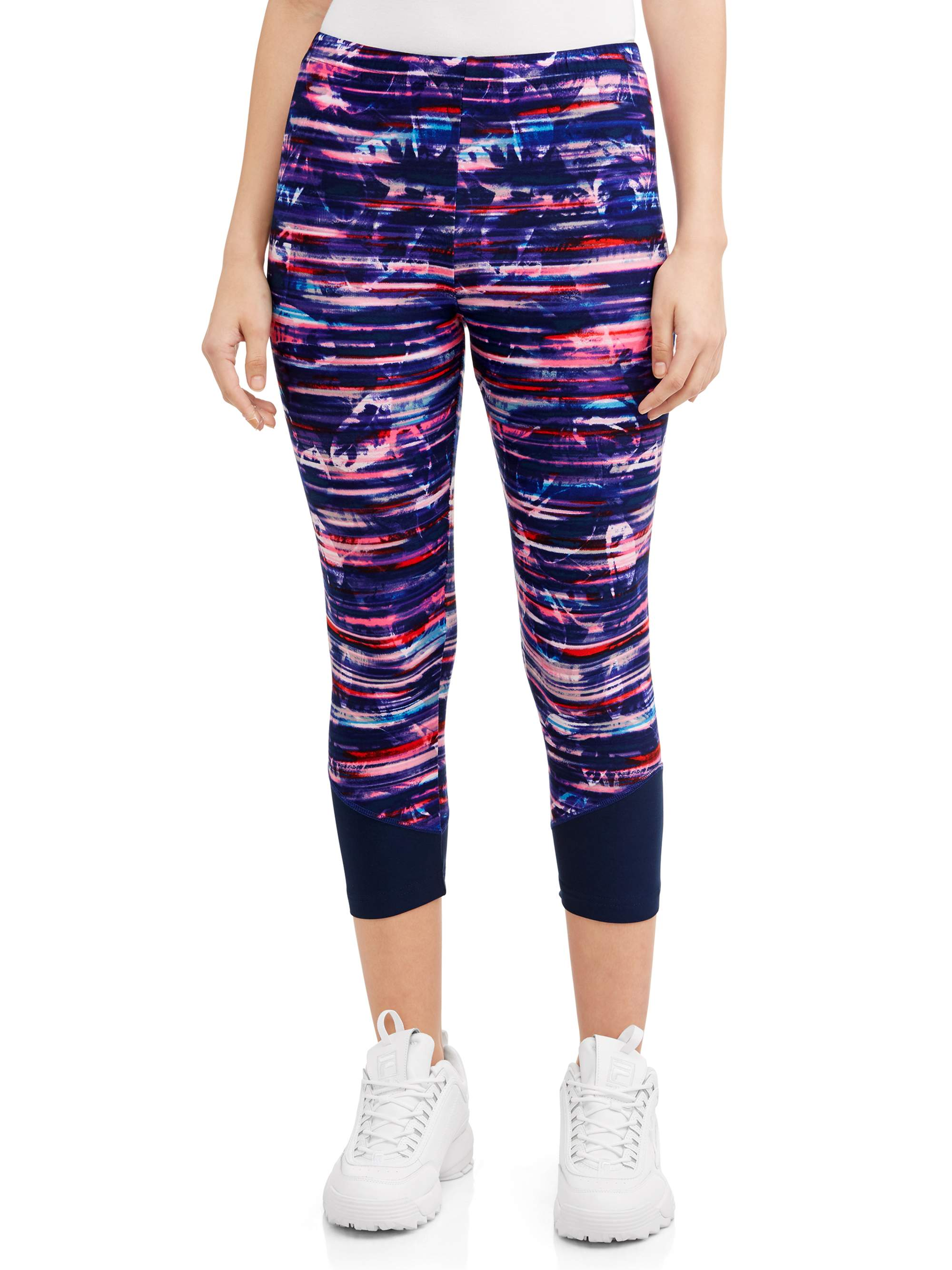 Juniors' Sueded Jersey Colorblock Capri Leggings