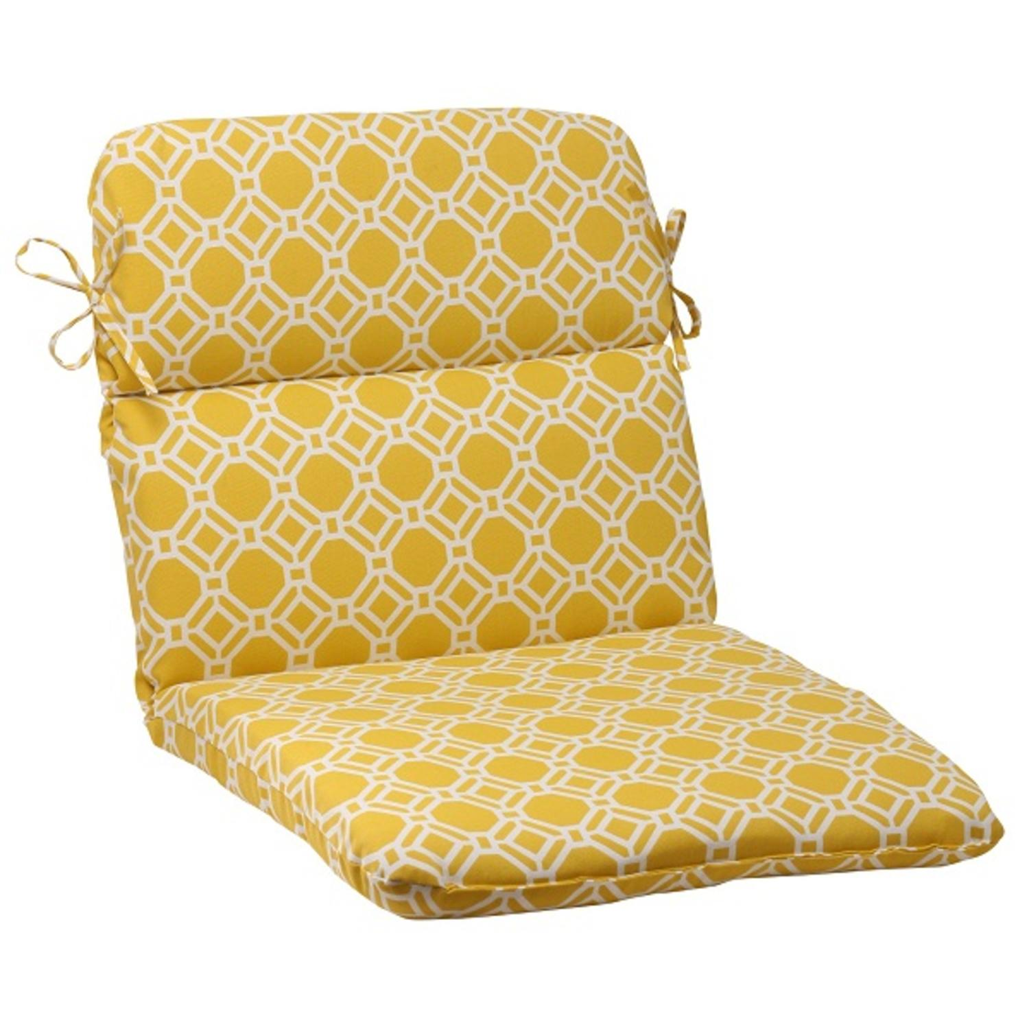 "40.5"" Sunny Yellow and White Round Outdoor Patio Wicker Chair Cushion"