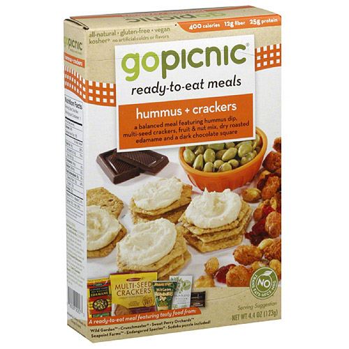 GoPicnic Hummus & Crackers Ready-to-Eat Meal, 4.4 oz, (Pack of 6)