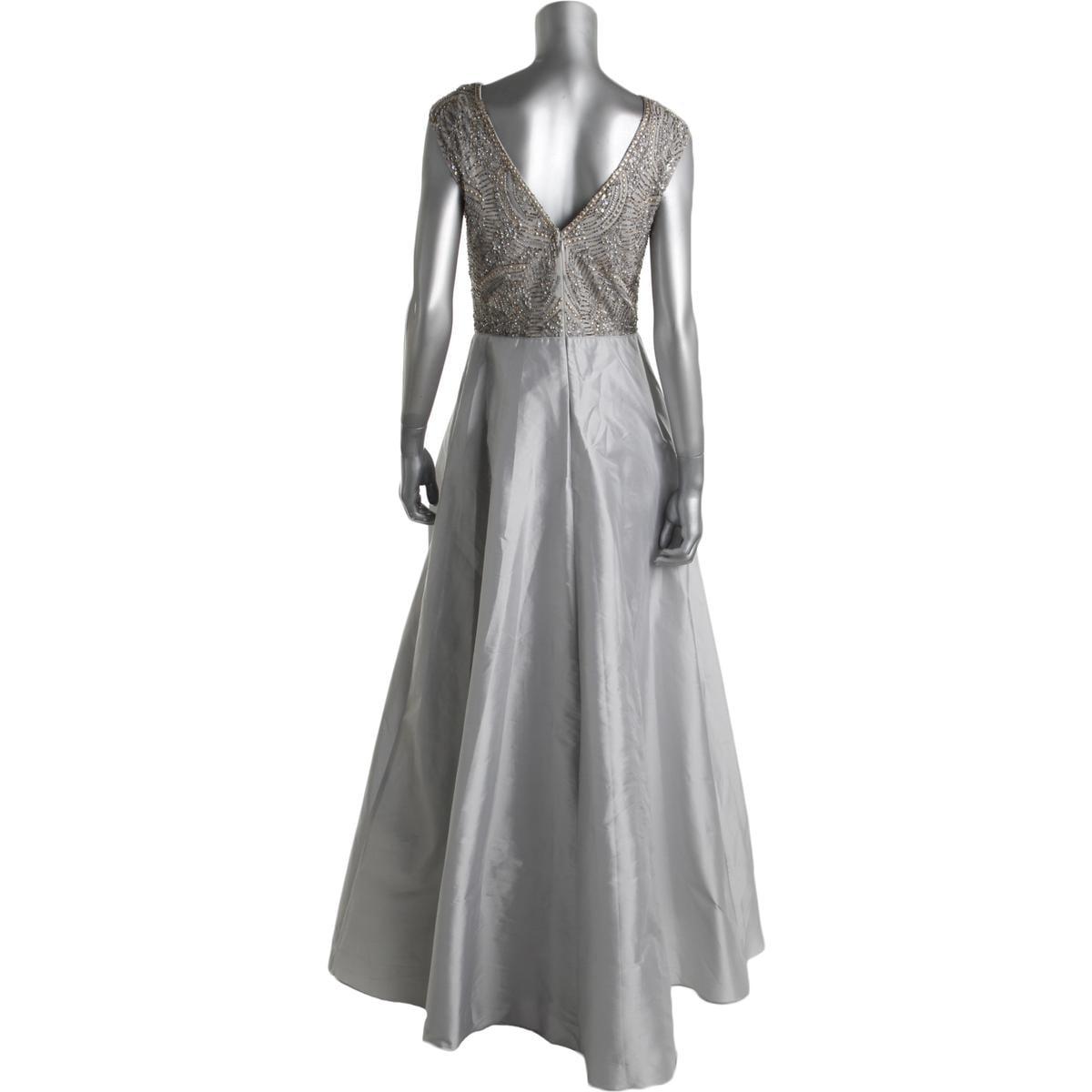 Aidan Mattox Womens Gray Off-The-Shoulder Evening Dress Gown 10 BHFO 8972