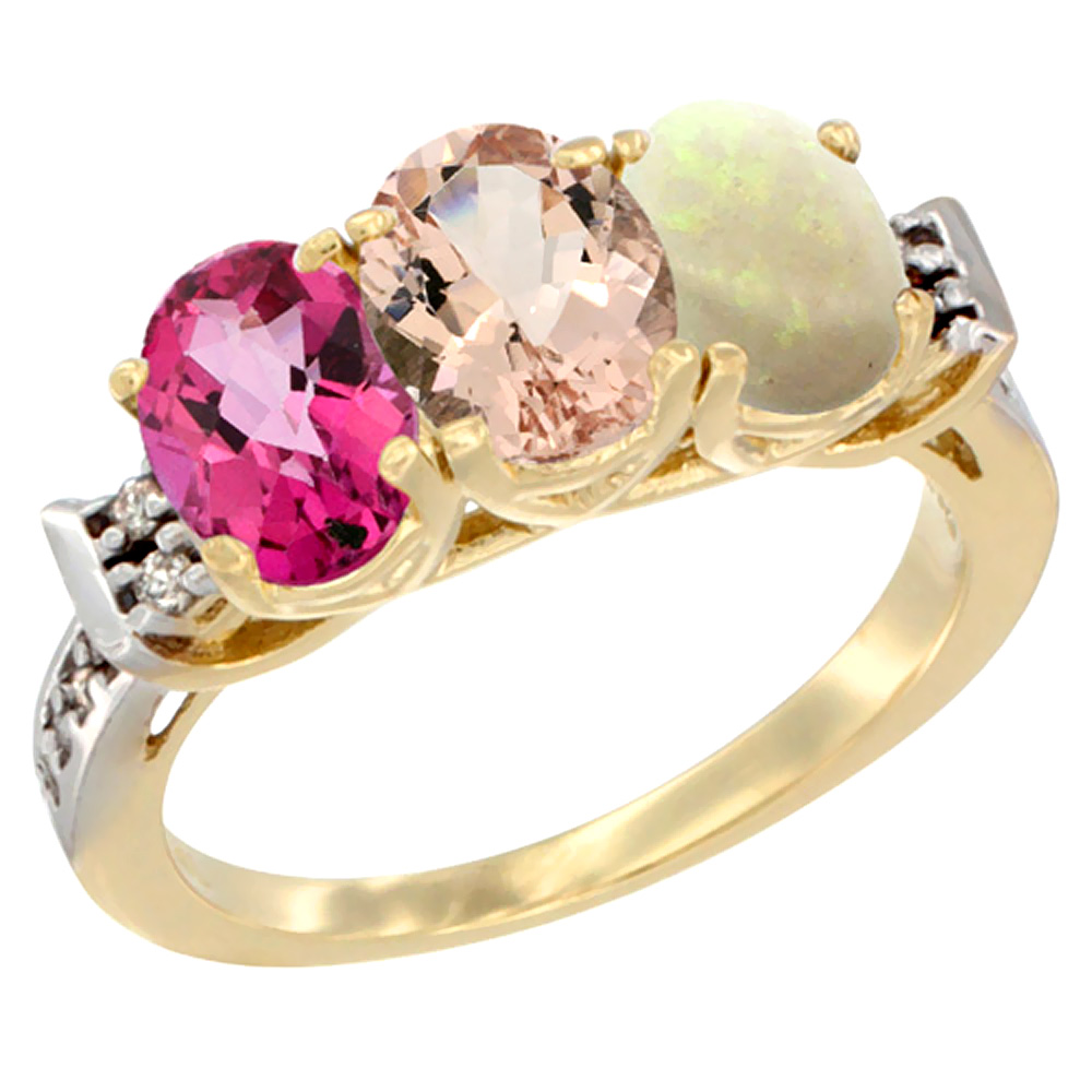 10K Yellow Gold Natural Pink Topaz, Morganite & Opal Ring 3-Stone Oval 7x5 mm Diamond Accent, sizes 5 10 by WorldJewels