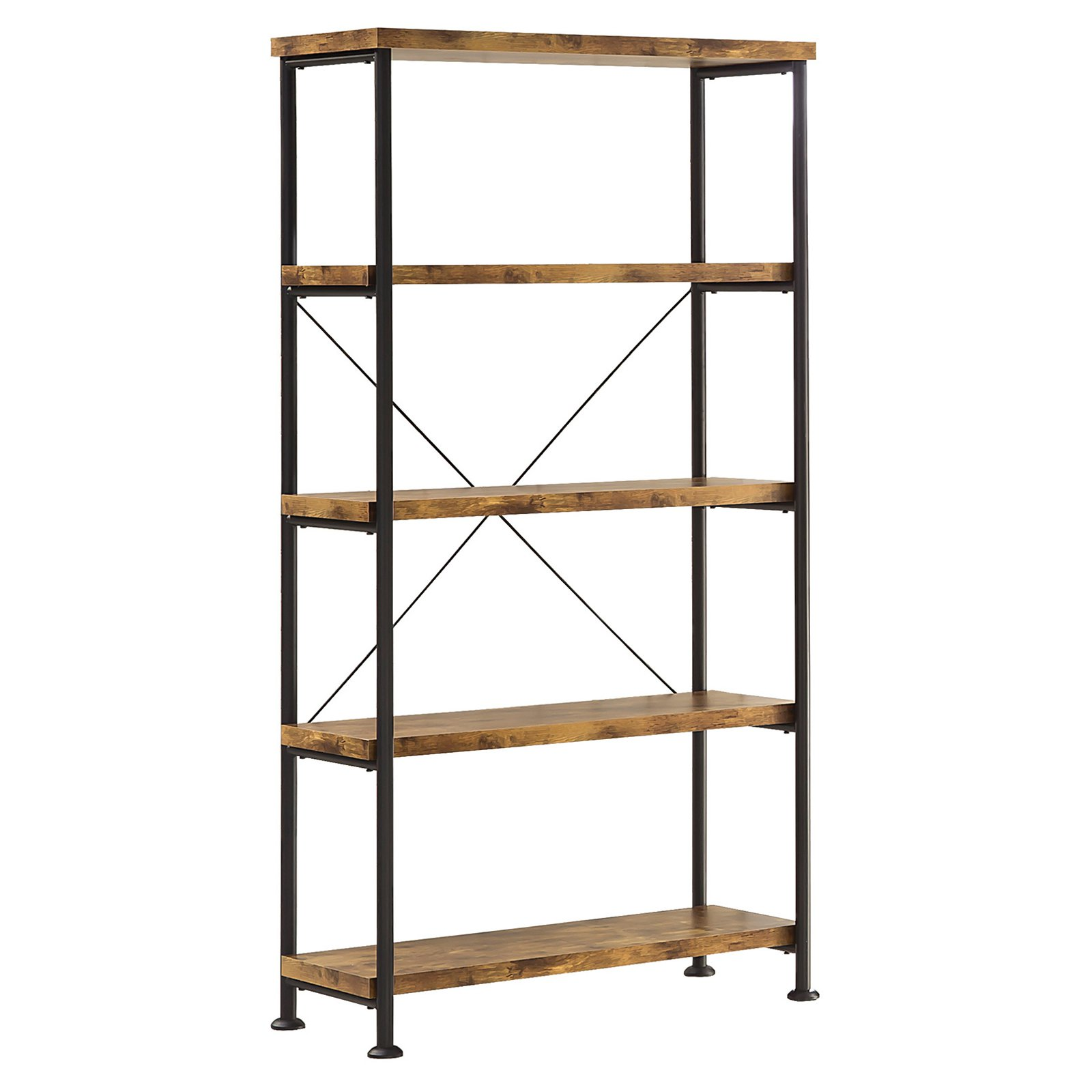 Coaster Company 4 Tier Bookcase, Salvaged Cabin and Black Metal