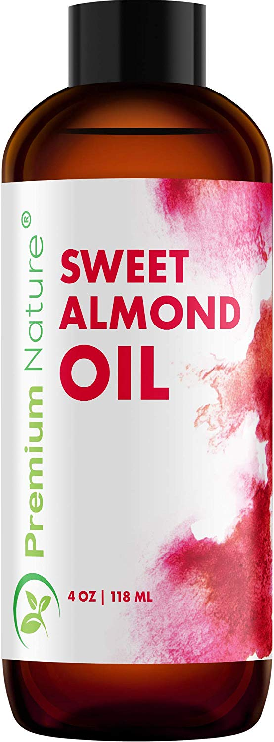Sweet Almond Oil Carrier Oil Cold Pressed Pure Natural Body Massage Oils For Essential Oils Mixing Baby Oil Dry Skin Face Moisturizer Eye Makeup Remover Healthy Nails Cleansing Properties 4 Oz