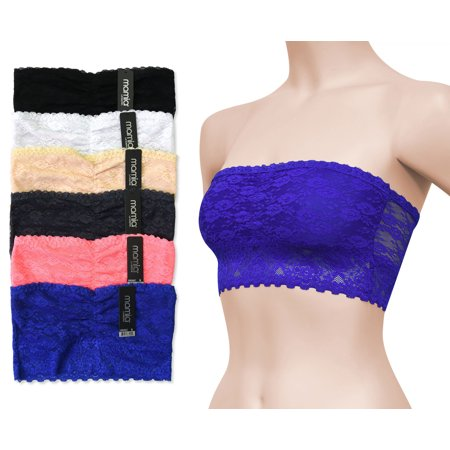 47e3a5a9b86 MAMIA - 6-Pack Lace Bandeau Tube Top Bralette Seamless Lined Lingerie Bra  Lot Multi Sizes and Colors - Walmart.com