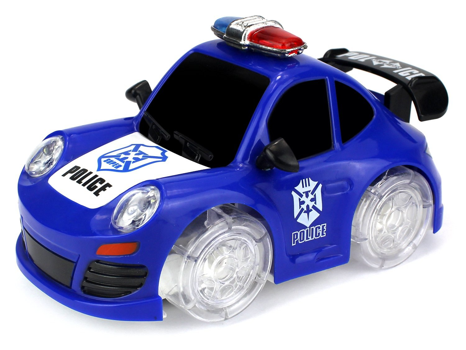 Super Police Coupe Battery Operated Bump and Go Toy Car w  Ultra Bright Head Lights, Sounds (Colors May Vary) by Velocity Toys