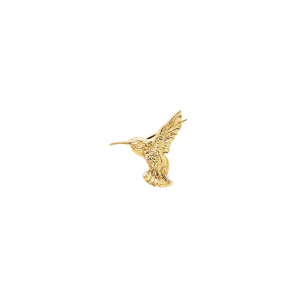 14k Yellow Gold 19x21mm Polished Hummingbird Brooch Pin 2.2 Grams by