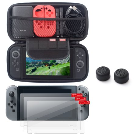 Insten EVA Hard Shell Cover Zipper with Card Slot + 3-pack Screen Protector + Black Joy-Con Gaming Thumb Grip Stick Caps for Nintendo Switch