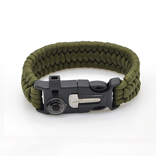 Click here to buy Freehawk Tactical Outdoor Survival Paracord Bracelet Emergency Kit With Thermometer Fire Starter Scraper Whistle Kit-Parachute Cord-Escape....