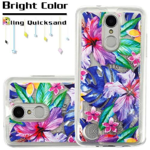 For LG Aristo 2 / LG Zone 4 (2018) / LG Tribute Dynasty / LG K8 (2018) / LG Fortune 2 Case Hybrid Quicksand Liquid Glitter TPU Phone Cover (Watercolor Hibiscus & Silver Quicksand Glitter)