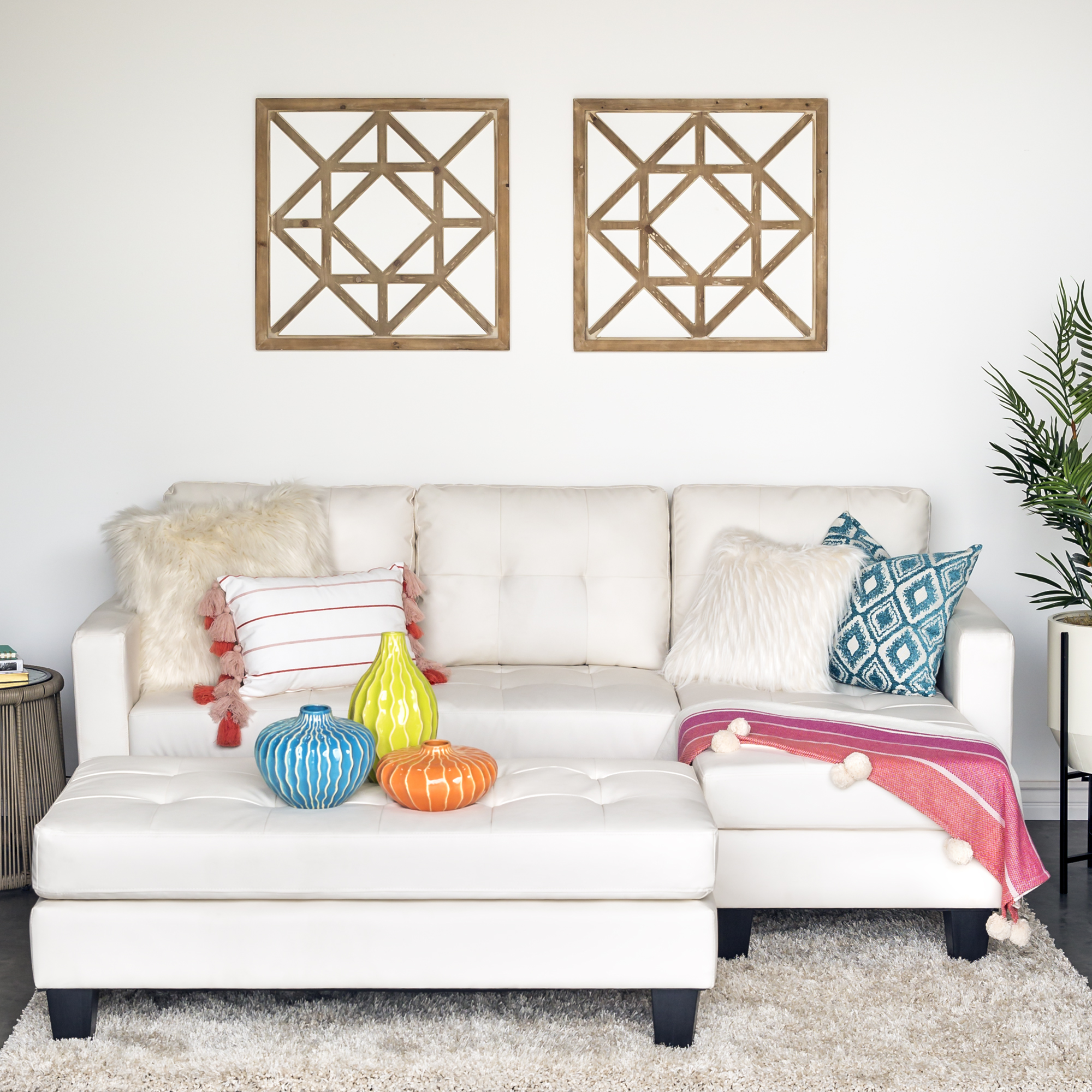 Tufted Leather Sofa Bed: White Tufted Leather Sectional Sofa Couch W/ Chaise Lounge