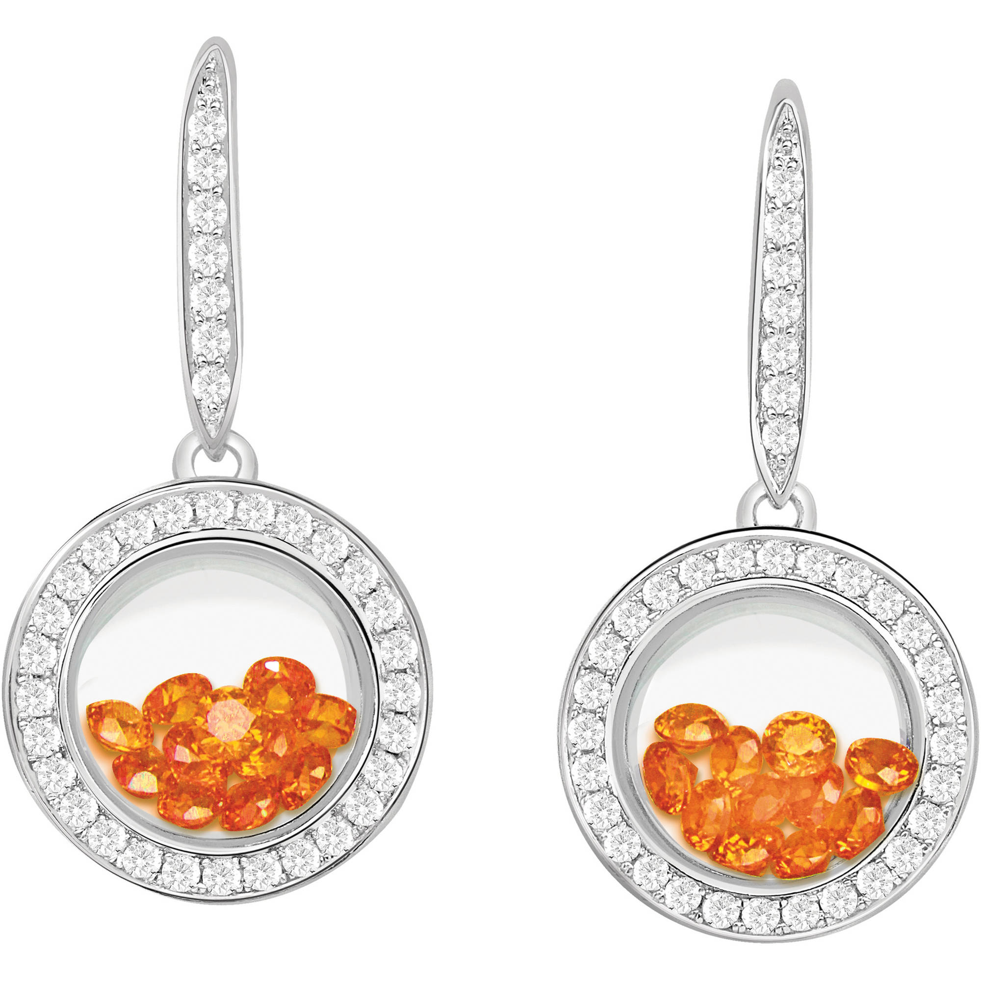 Chetan Collection Floating Orange CZ Sterling Silver Designer Earrings