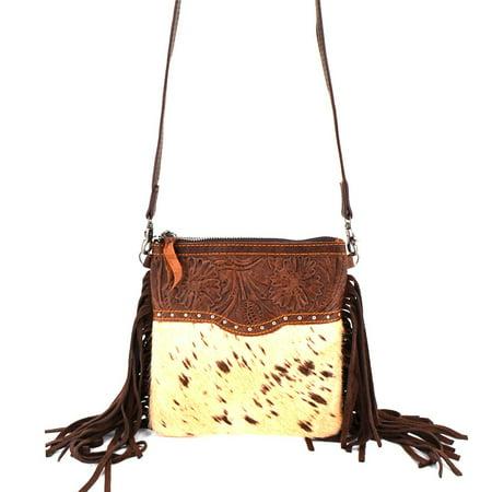 Western Genuine Leather Cowhide Fur Fringe Womens Crossbody Bag In Multi Color Justin Ladies Rustic Cowhide