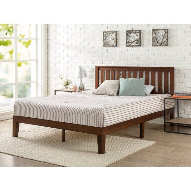 "Zinus Vivek 37"" Solid Wood Platform Bed with Headboard, Antique Espresso, Twin"