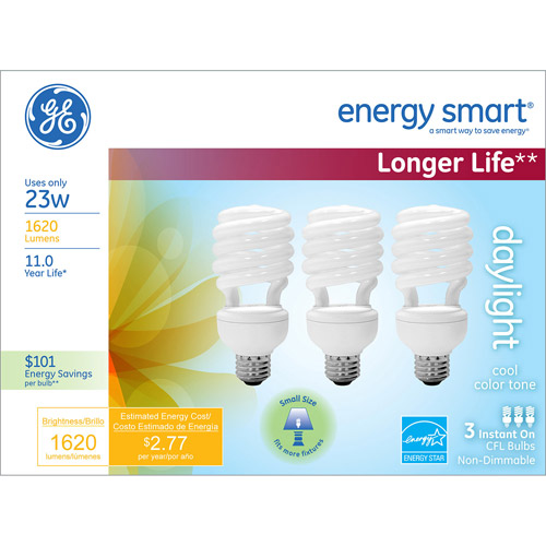GE CFL 23W Daylight T2 Spiral Bulb, 3-Pack