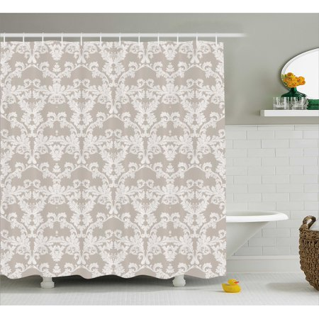 Taupe Shower Curtain  Nature Garden Themed Pattern With Damask Imperial Tile Rococo Inspired Stylized  Fabric Bathroom Set With Hooks  69W X 70L Inches  Taupe And White  By Ambesonne