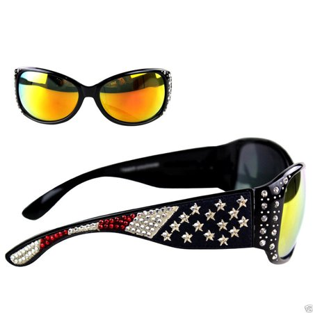 Montana West Ladies Sunglasses American Pride US Flag Western Rhinestones UV400 - Wholesale Wayfarer Sunglasses Bulk
