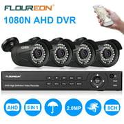 FLOUREON 8CH 1080N CCTV Security DVR System + 4x 3000TVL Surveillance Camera Night Vision