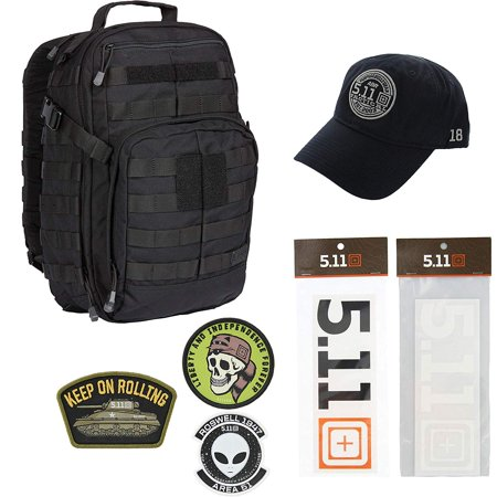 5.11 Kits Rush 12 Backpack, Hat, Patches, and Decals Set - Army/Military and Tactical Gear Pack - Black