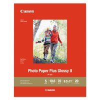 Canon Photo Paper Plus Glossy II, 70 lb, 8 1/2 x 11, White, 20 Sheets/Pack -CNM1432C003