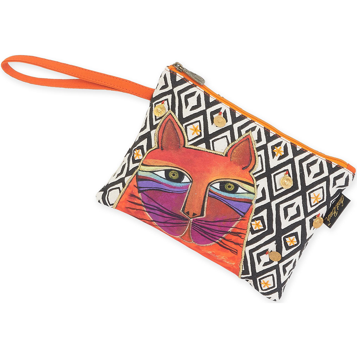 "Wristlet 10""X7""-Whiskered Cats - Orange"