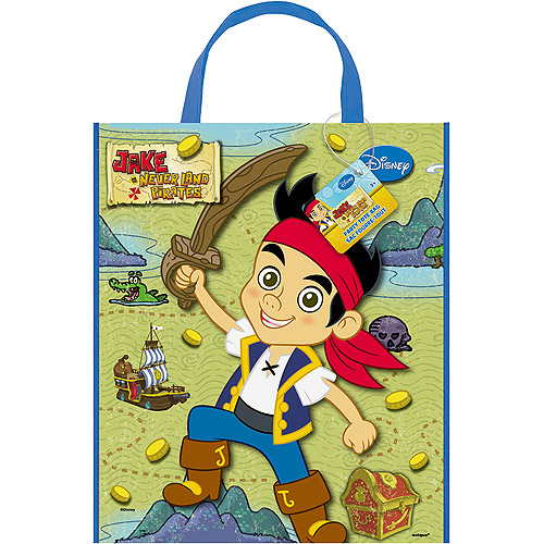 """Large Plastic Jake and the Never Land Pirates Favor Bag, 13"""" x 11"""