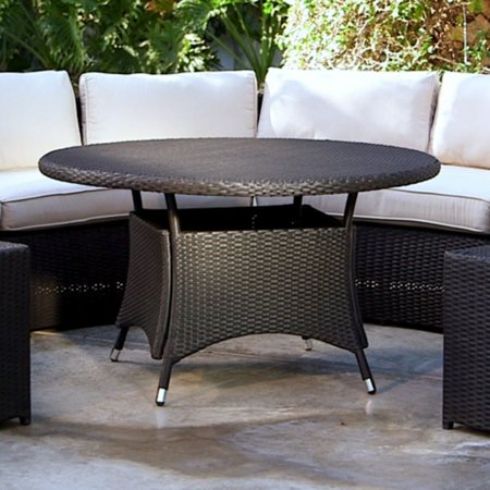 Belham Living Meridian All Weather Wicker Round Outdoor Patio Dining Table
