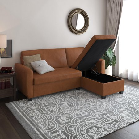 DHP Noah Sectional Sofa Bed with Storage, Twin, Camel Faux Leather (Sectional Sofa With Bed $500)