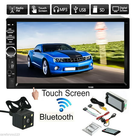 Clearance!!! Vehicle 7 inch 1080P HD Touch Screen Double 2DIN  Car Stereo Radio MP5 MP3 Player with Rearview Camera + Remote Controller + 4Pcs Power Cable ()