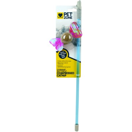 Pet Zone 1550012819 Corknip Butterfly Compressed Catnip Wand Cat Toy