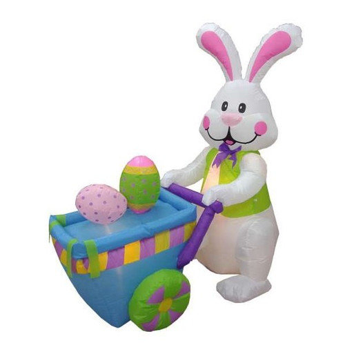 BZB Goods Easter Inflatable Rabbit Pushing Cart with Eggs Decoration