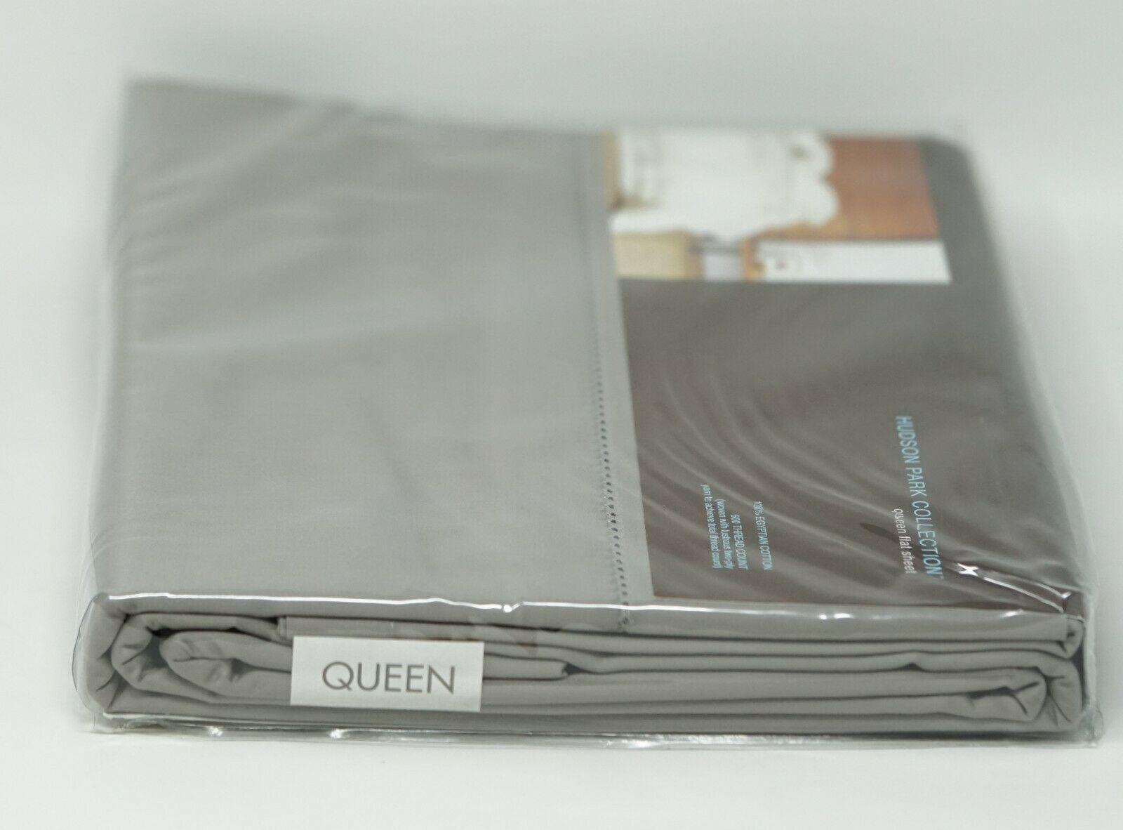 MSRV $130 HUDSON PARK Collection 600TC 100/%cotton FULL flat sheet New Pewter