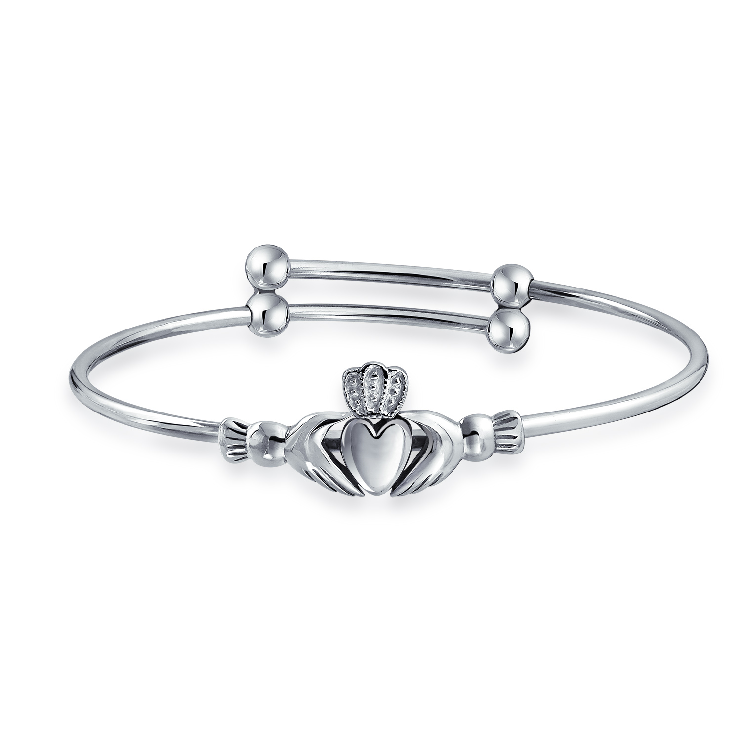 Sterling Silver Claddagh Baby Bracelet Expandable 6.5in