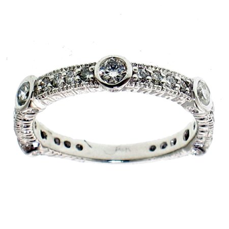 0.64 CT Bezel Prong Set Diamond Wedding Ring in 14k White Gold
