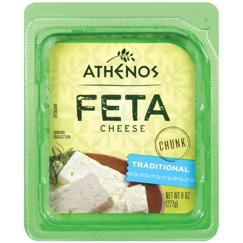 Athenos Feta Chunk Traditional Cheese, 8 oz