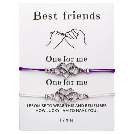 SHOPFIVE Vintage Simple Heart Infinity Friendship Bracelet Set Dainty Geometric Knot Bracelet Set Best Friend Gift Bracelet Jewelry Promise