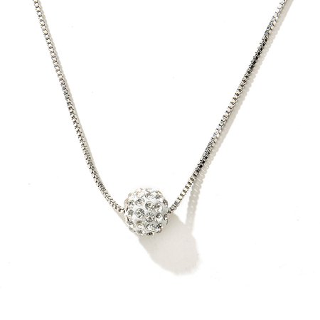 LANBOWO Diamond Pearl Ball Necklace Female Diamond Clavicle Chain Necklace