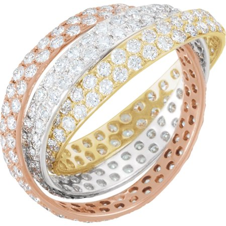 14k Tri-Color Gold (White/Yellow/Rose) 3 1/3 Ct Diamond Rolling Eternity Band - Size 7 - Eternity Rolling Ring