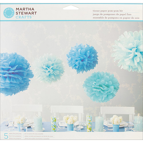 Tissue Paper Pom Pom Kit-Blue
