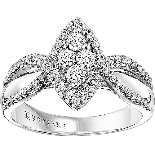 Keepsake Magnolia 1/2 Carat Diamond 14kt White Gold Engagement Ring